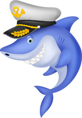 Shark captain cartoon