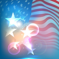 Shiny stars on waving American Flag background. Fourth of July I