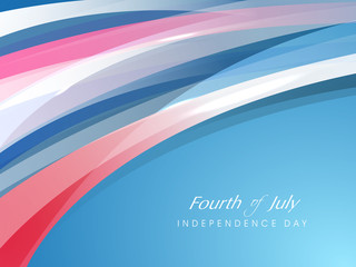 Fourth of July, American Independence Day concept with shiny wav