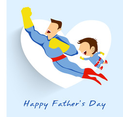 Poster Superheroes Superhero father and son flying up on white heart shape blue bac