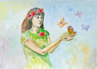 Watercolor drawing of a girl with butterflies