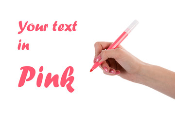 Hand writing with pink pencil isolated on white background