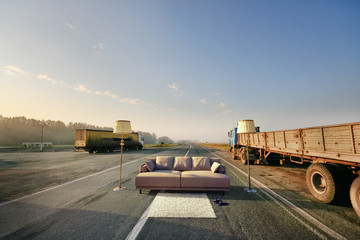 sofa on the road
