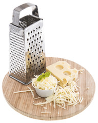 Emmentaler with Cheese Grater on white