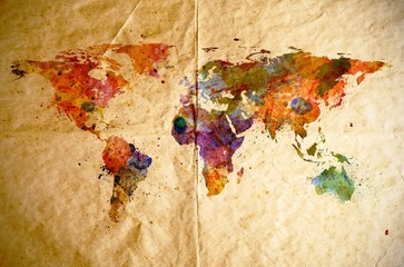 Watercolor world map, old paper background