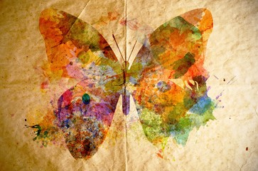 Watercolor butterfly, old paper background