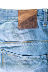Jeans texture with label on white