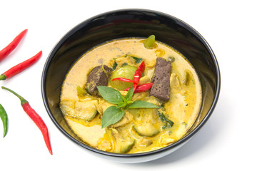 thai Green Curry with Chicken in a black bowl