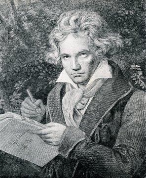 Portrait of german composer Beethoven