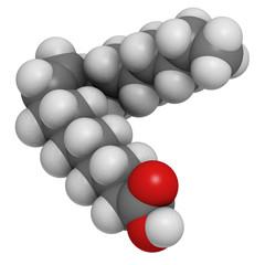 Oleic acid omega-9 fatty acid, molecular model