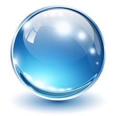 3D glass sphere blue