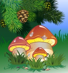Aluminium Prints Magic world Mushroom