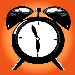 Alarm clock on the orange background. Old illustration technique