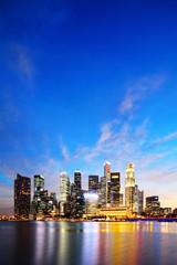 Foto op Canvas Singapore Singapore Marina Bay Business District at night
