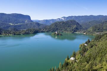 Foto auf AluDibond Karibik Lake Bled Slovenia