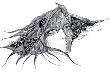 beautiful woman with abstract graphic decoration in  her hear