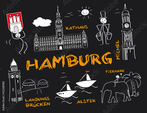 Hansestadt Hamburg Wahrzeichen Tafel Kreide Stock Image And