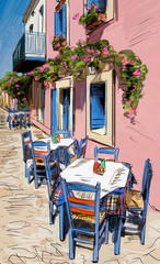 Poster de jardin Drawn Street cafe European city street color illustration
