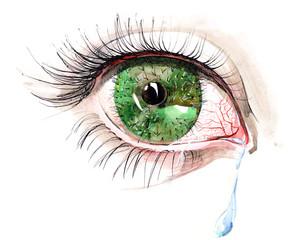 Foto auf Leinwand Gemälde cactus eye