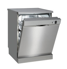 Freestanding dishwasher on white with clipping path.