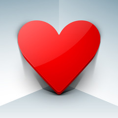 3D red heart on grey background, love concept.