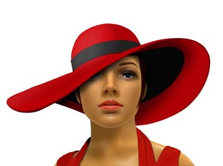 Mannequin in red with big hat