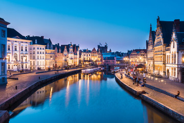 Leie river bank in Ghent, Belgium, Europe.