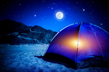 Poster Pleine lune Camp at night