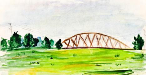 child's paiting - lansdscape with railroad bridge
