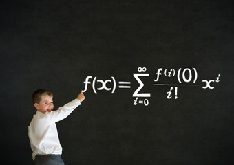 Writing boy business man with maths equation