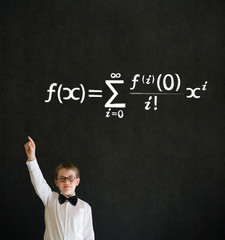 Hand up answer boy business man with maths equation