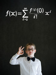 All ok boy business man with maths equation