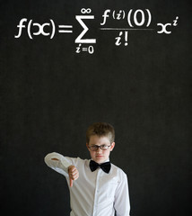 Thumbs down boy business man with maths equation