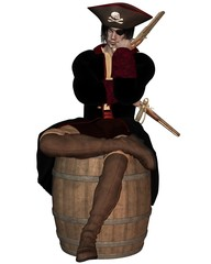 Pirate Captain siting on a Barrel