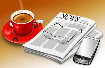 Büro mit Kaffe, Zeitschrift, Handy und Brille