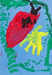 childs paiting - red ladybug
