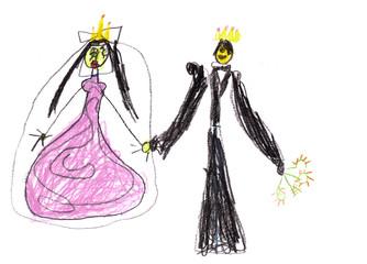 child's drawing - prince with princess