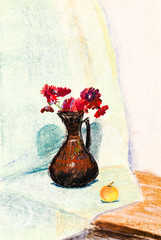 child's paiting - flower vase with red chrysanthemum