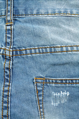 Detail of denim trousers