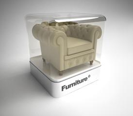 Leather club armchair in showcase