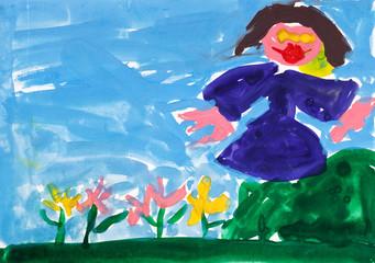 child's painting - girl near flower bed