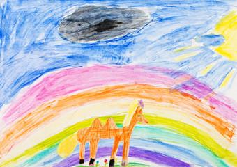 child's drawing - horse under rainbow