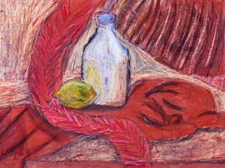 child's paiting - still life with bottle and lemon