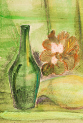 child's paiting - still life with old green bottle