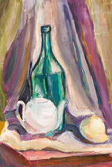 child's paiting - still life with green bottle and white teapot