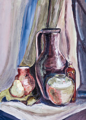 child's paiting - still life with ceramic jugs and bowls