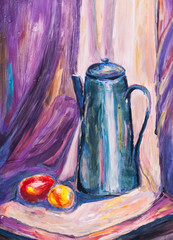 child's paiting - still life with metal coffee pot