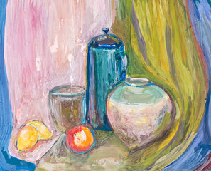 child's paiting - still life with kettle and ceramic bowls