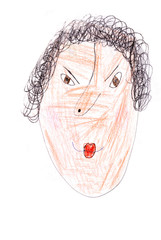 child's drawing - portrait of angry woman