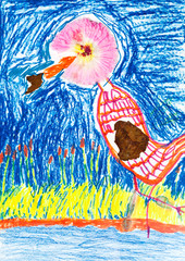 child's drawing - applique of river bird
